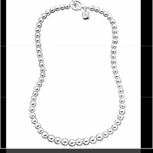 Ralph Lauren silver faceted bead toggle necklace